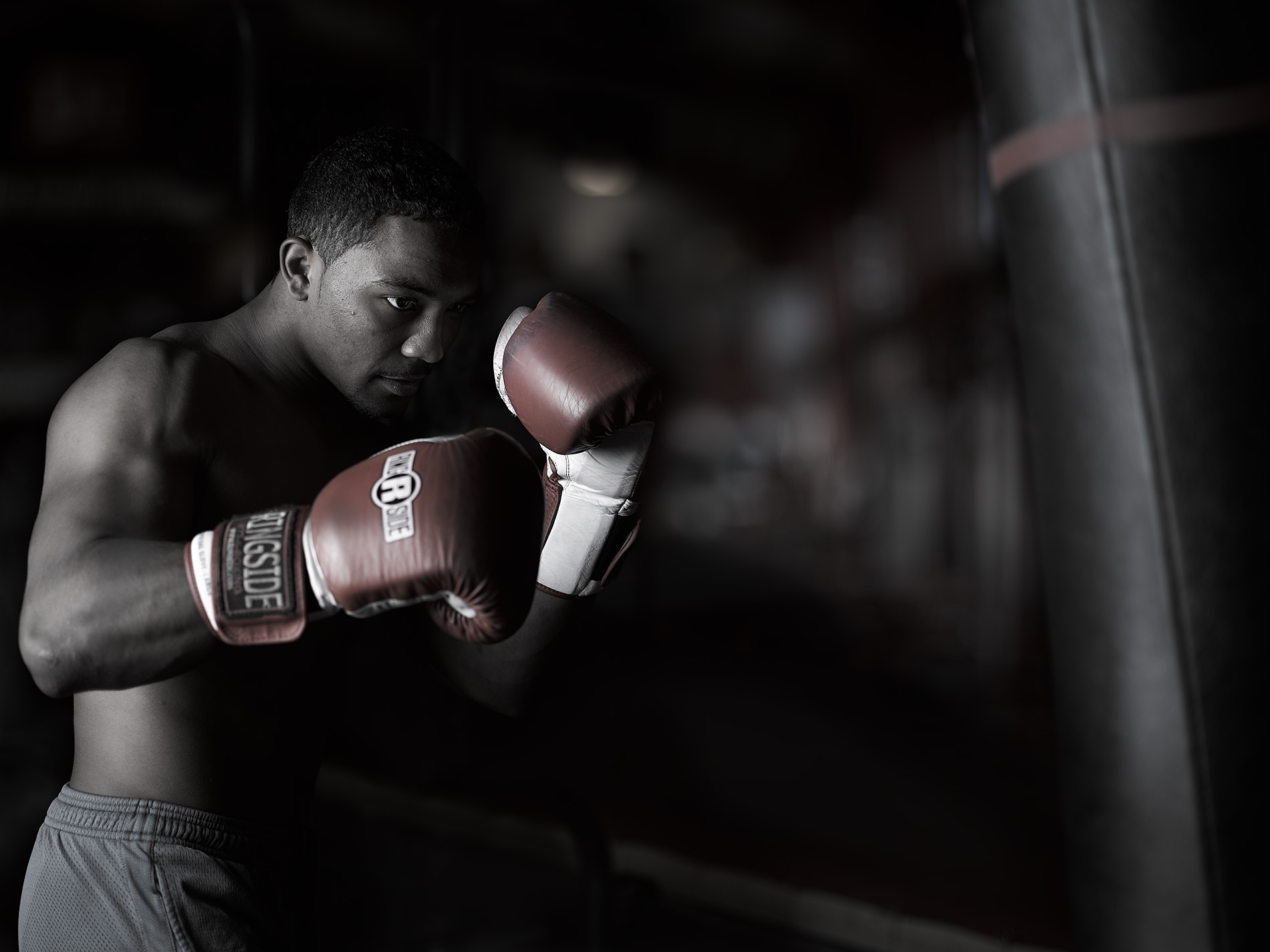 Portrait of a boxer by commercial lifestyle photographer Travis Neely